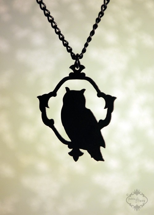 Woodland Owl silhouette necklace in black stainless steel