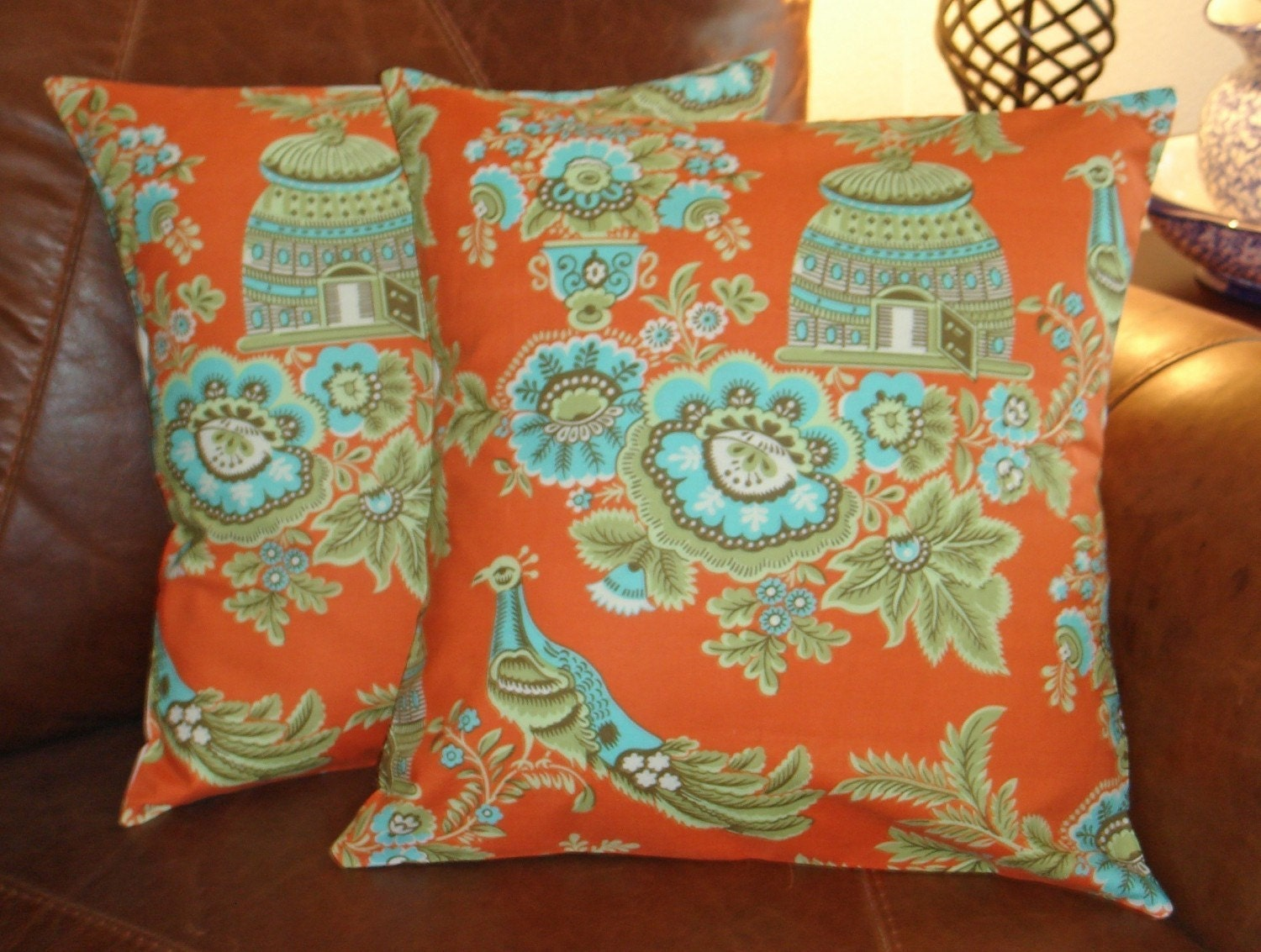 Throw Pillow removable cover 16x16 Set of 2 sewn with Amy Butler's Royal Garden Clay