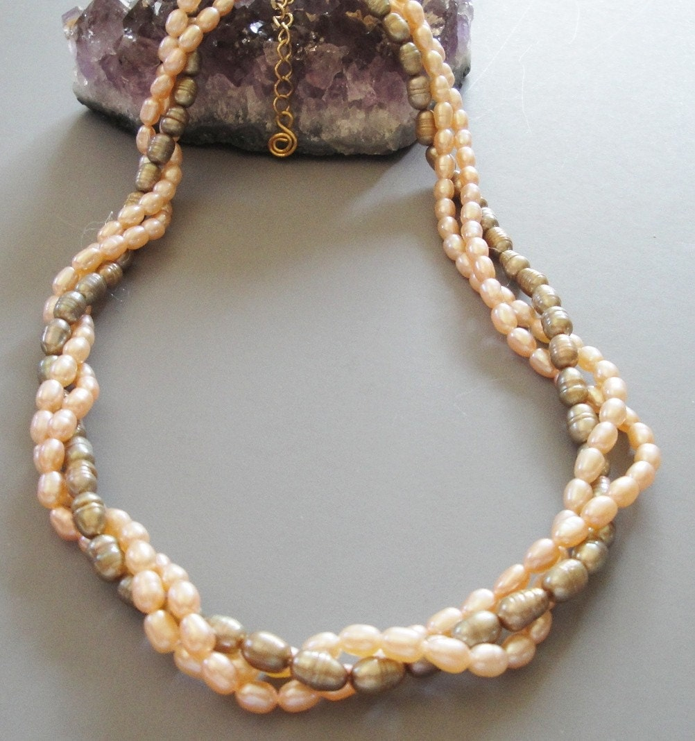 Three Multiple  Strand Freshwater Pearl Twisted  Necklace