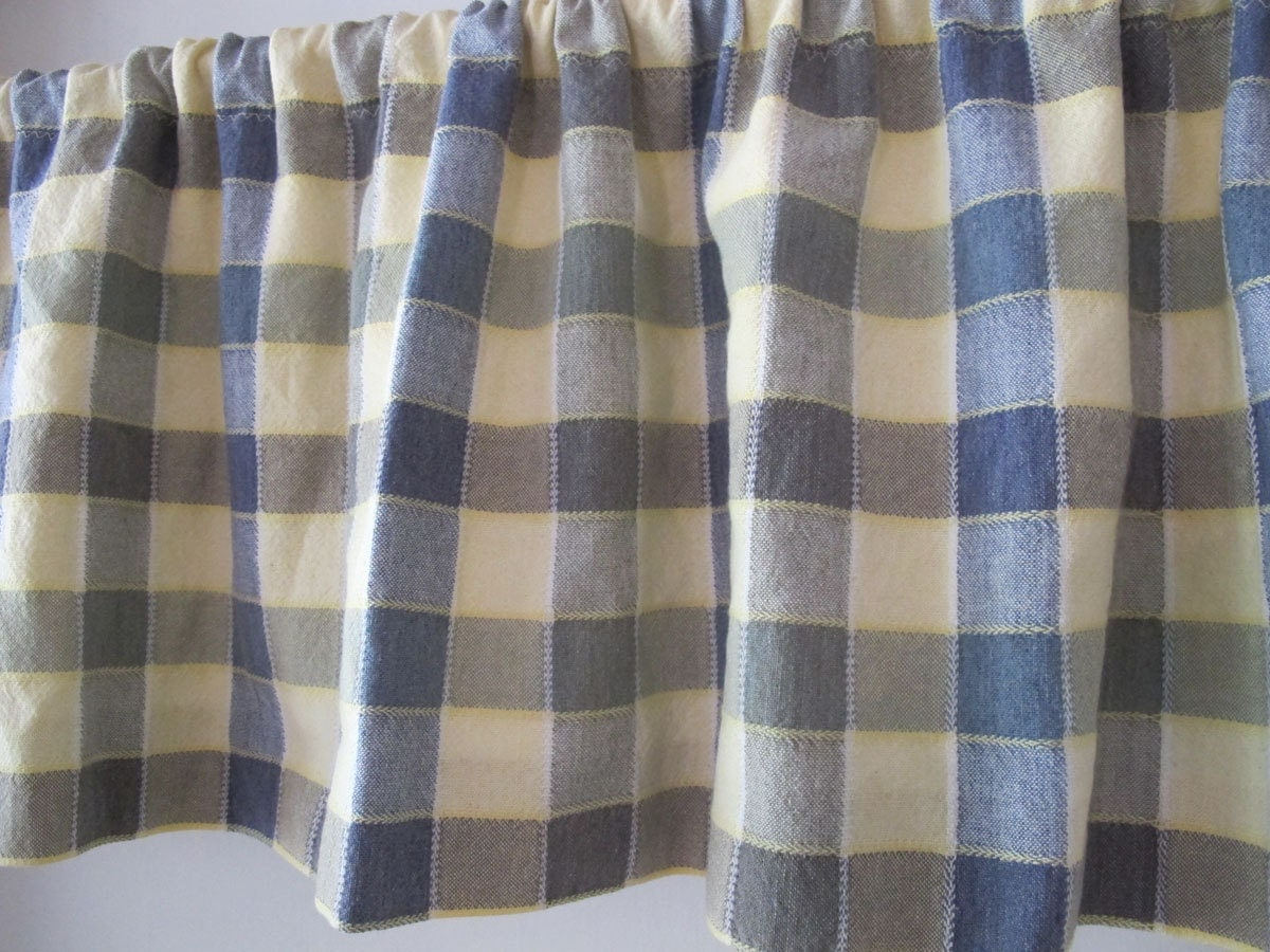 country blue and yellow valance woven bold check window curtains