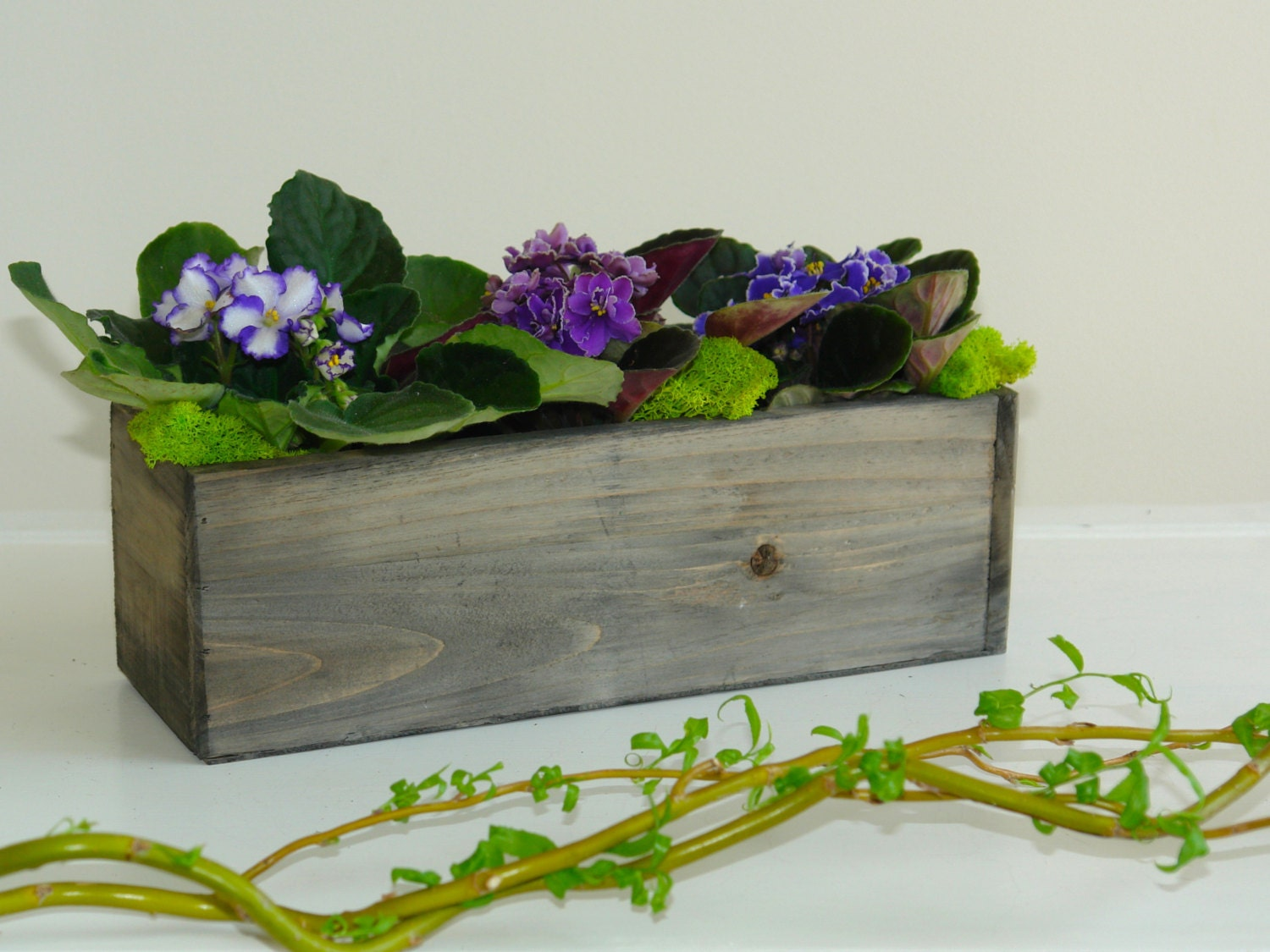 Wood box woodland planter flower box rustic pot by aniamelisa - Wooden containers for flowers ...