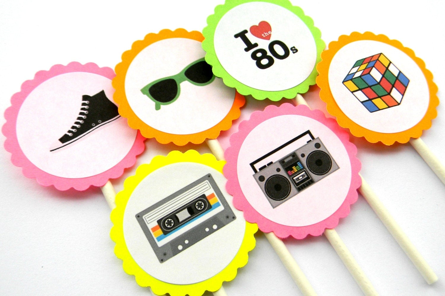 12 Neon Awesome 80s Cupcake Toppers. Awesome by ...