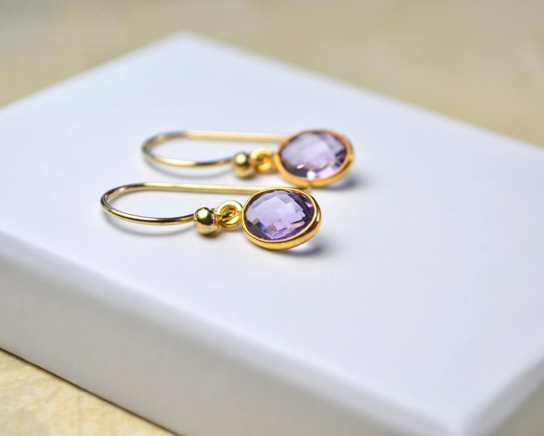 Amethyst Gold Earrings Purple Gemstone Earrings February Birthstone Earrings Drop Earrings Amethyst Jewelry Birthstone Gifts for Women