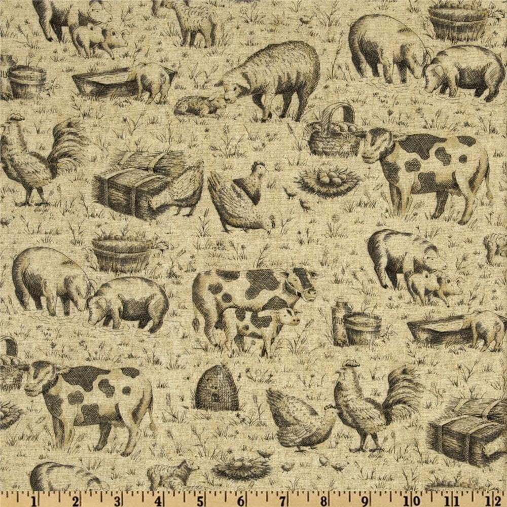 farmyard toile fabric by the yard h by thefabricfox on etsy. Black Bedroom Furniture Sets. Home Design Ideas
