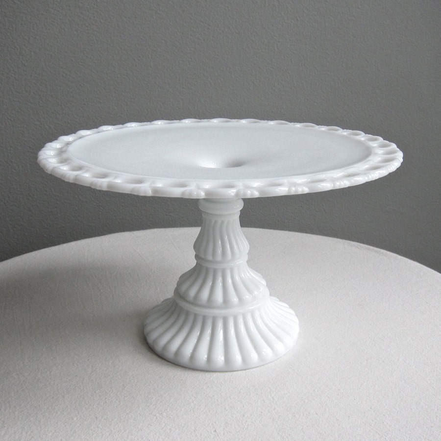Imperial milk glass pedestal cake plate by barkingsandsvintage for Colored glass cake stand