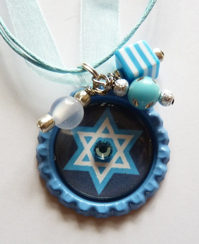 Star of David Bottle cap Necklace birthday, party, favors, special occasions, Hanukah gift, party favors, religious - TrendyTz