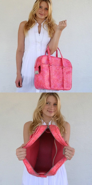VINTAGE Hot Pink Mottled TOTE Travel Bag LUGGAGE