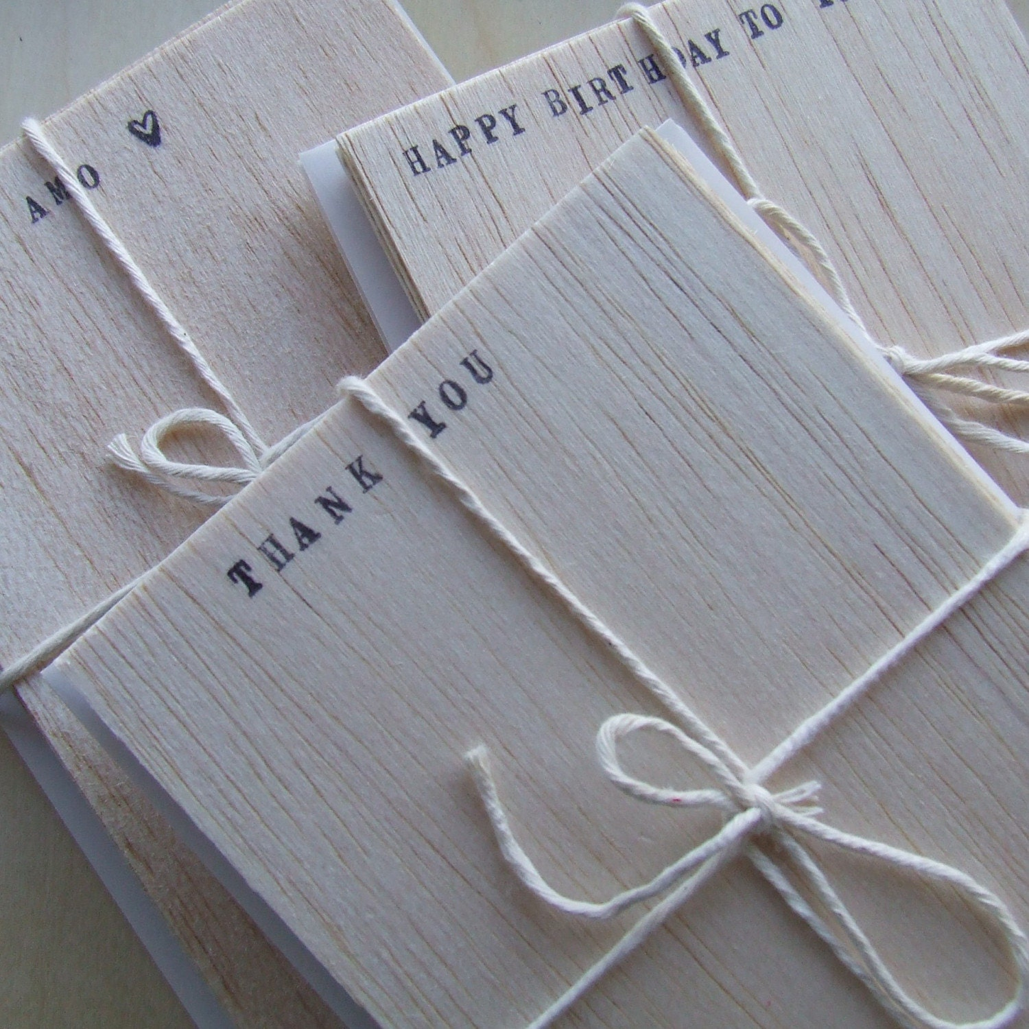 I LOVE YOU balsa wood stationery set