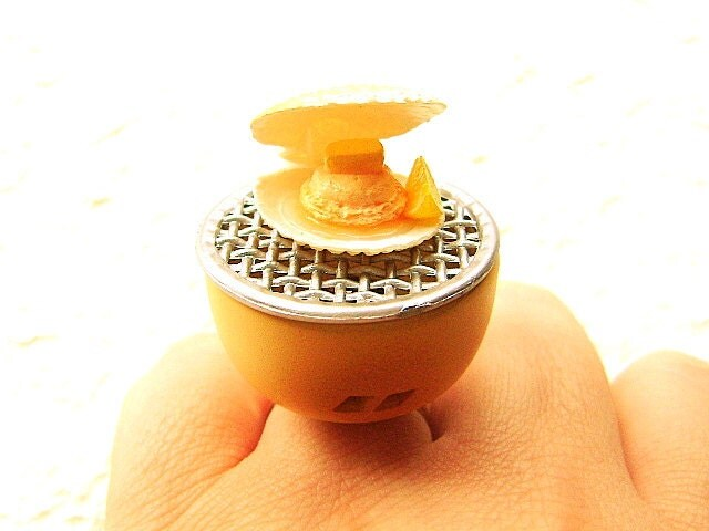 Симпатичный Kawaii Японская кухня кольцо на гриле гребешки