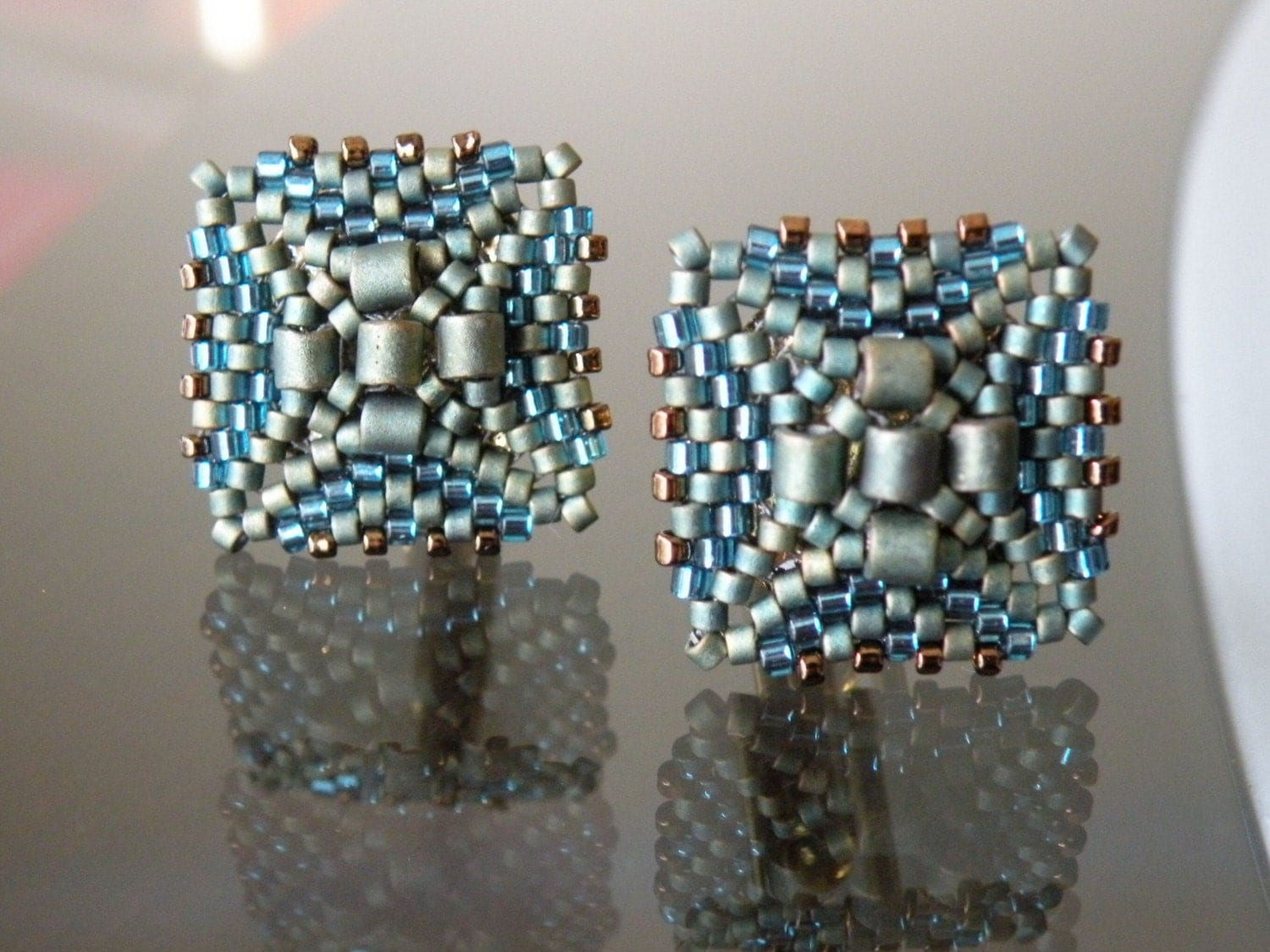 Square Cuff Links in Blue Green Shades