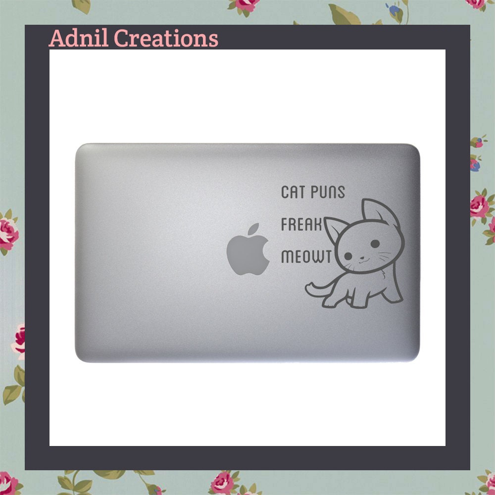 Mac Decal Cat puns freak meowt Apple Macbook and other laptop stickers iPad Stickers iPad Decal