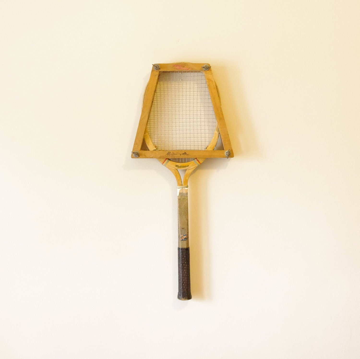 Vintage Wooden Tennis Racket and Wooden Bracket Holder - Olympics - Sports - 1960's - ThisCharmingManCave