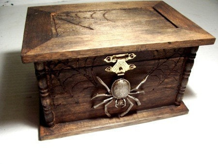 Aged Spider jewelry box / chest with spider web details/ gothic wooden gift