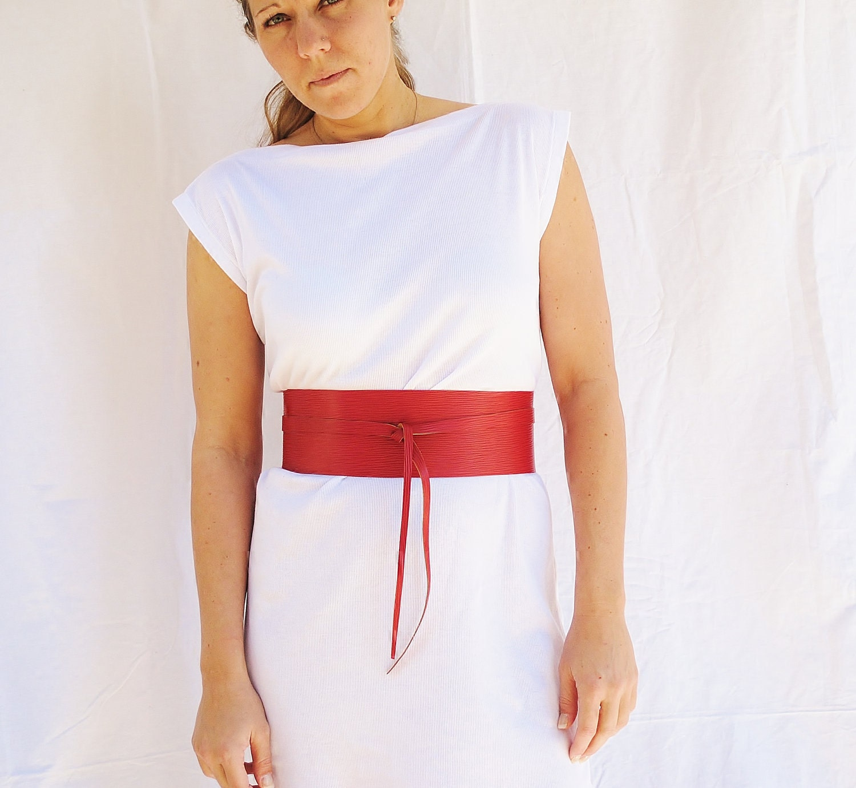 Obi Belt Leather Womens  Japanese Style Red Pinstrap - FineThreadz