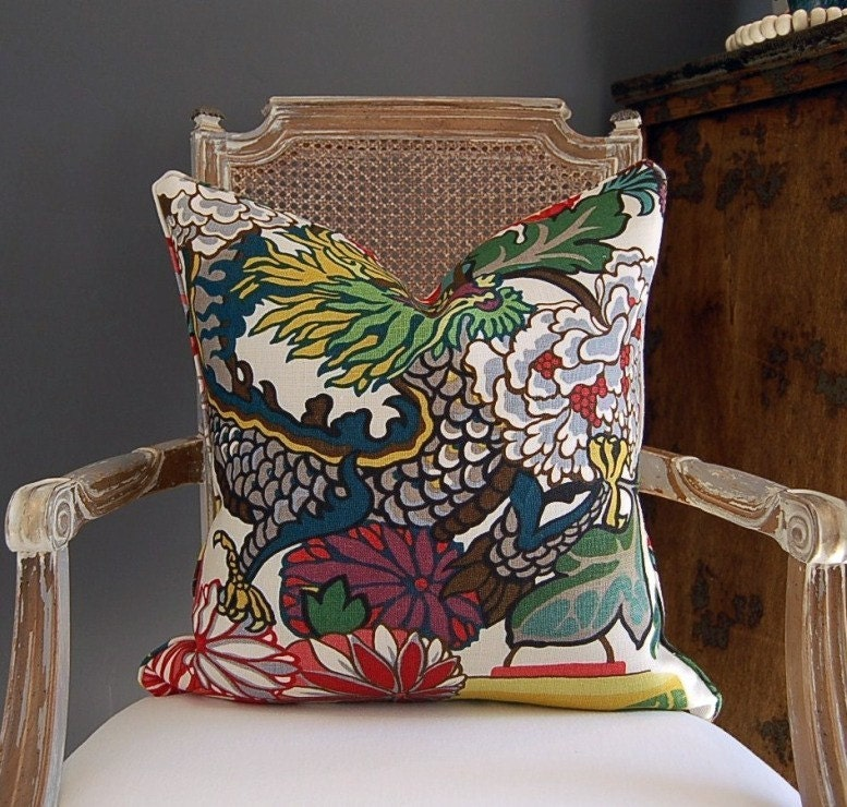 Schumacher Chiang Mai Dragon - 20 sq -  Alabaster Dragon on the front face of the pillow