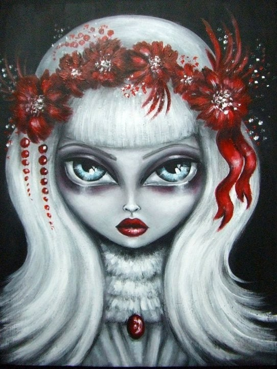 BIANCA big eye gothic victorian blond girl in white dress ruby red flowers NINA FRIDAY PRINT
