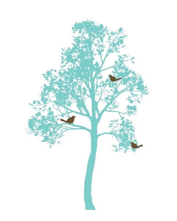 Birds in a Tree (blue, brown)