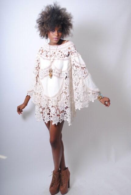 Items similar to boho bell sleeve 70s dress style ivory for 70s style wedding dress