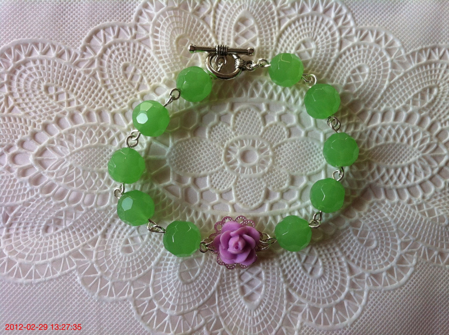 Lovely Lavender  and Green Bracelet, Rose on Silver Plated. - BbbHandmade