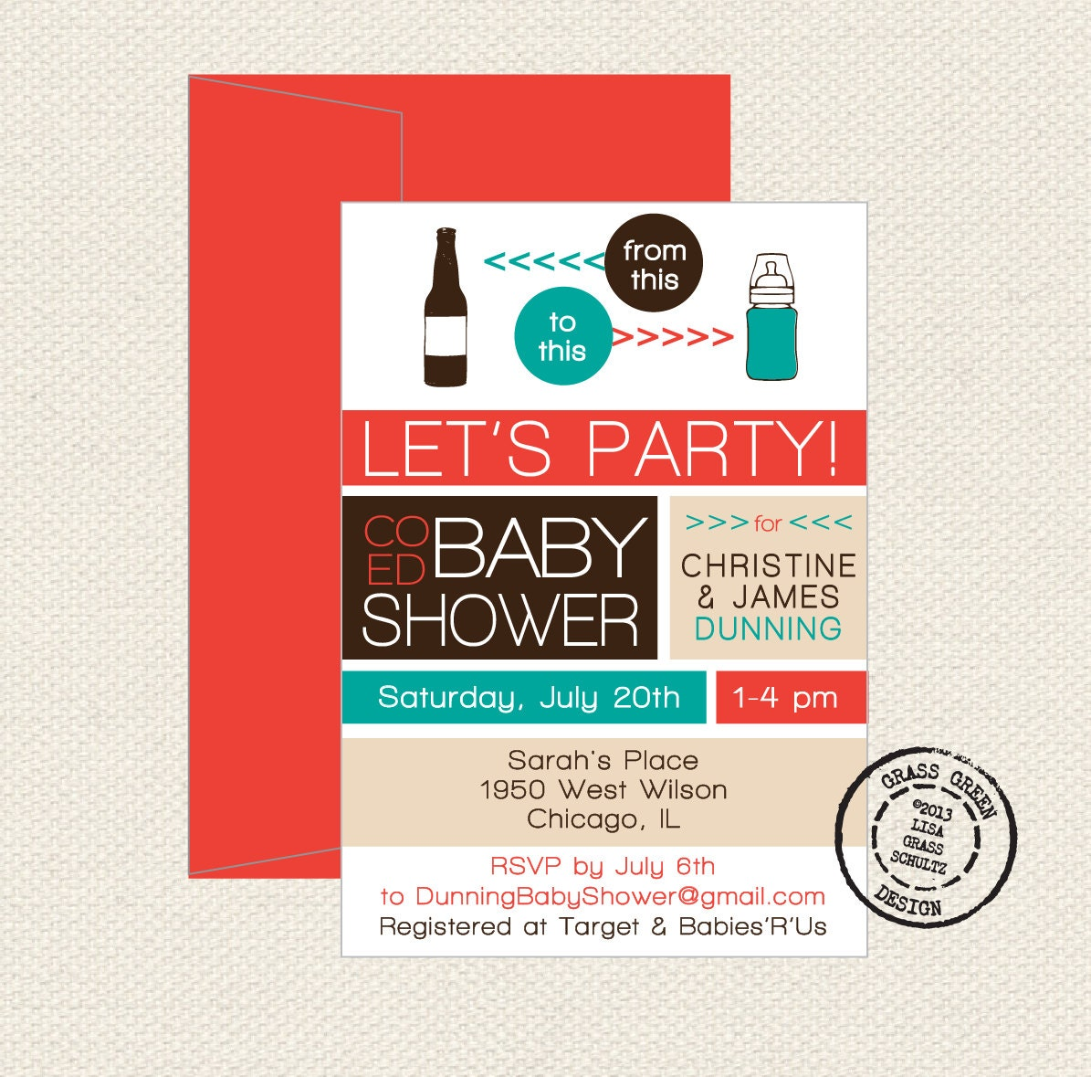 co ed baby shower beer bottle to baby bottle by grassgreendesign