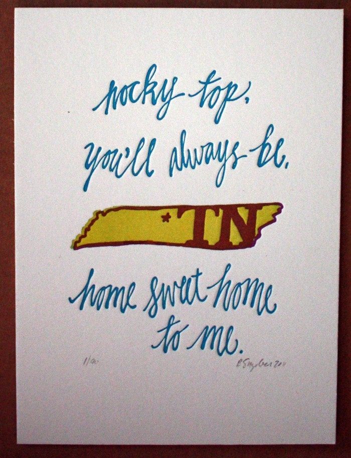 Rocky Top Tennessee-Letterpress Print