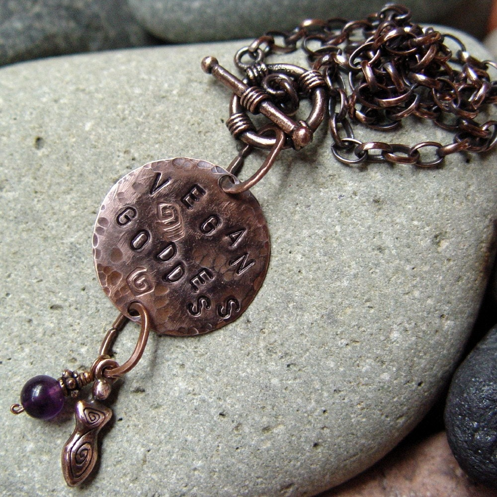 VEGAN GODDESS copper and amethyst necklace