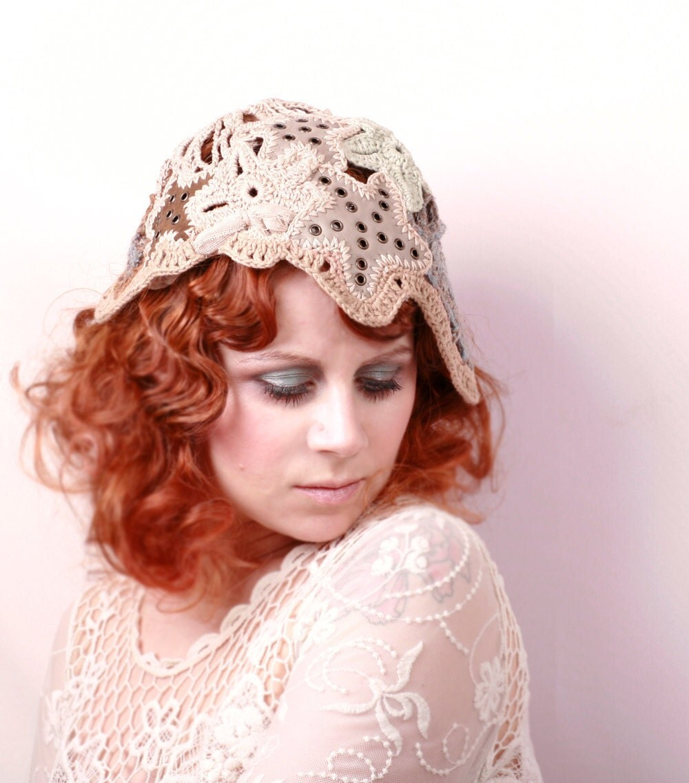 Bohemian Wedding hat 1920s hat Flapper Hat Bridal cap Woman hat Art nouveau wedding Crochet hat Summer hat Flapper hat Wedding cap