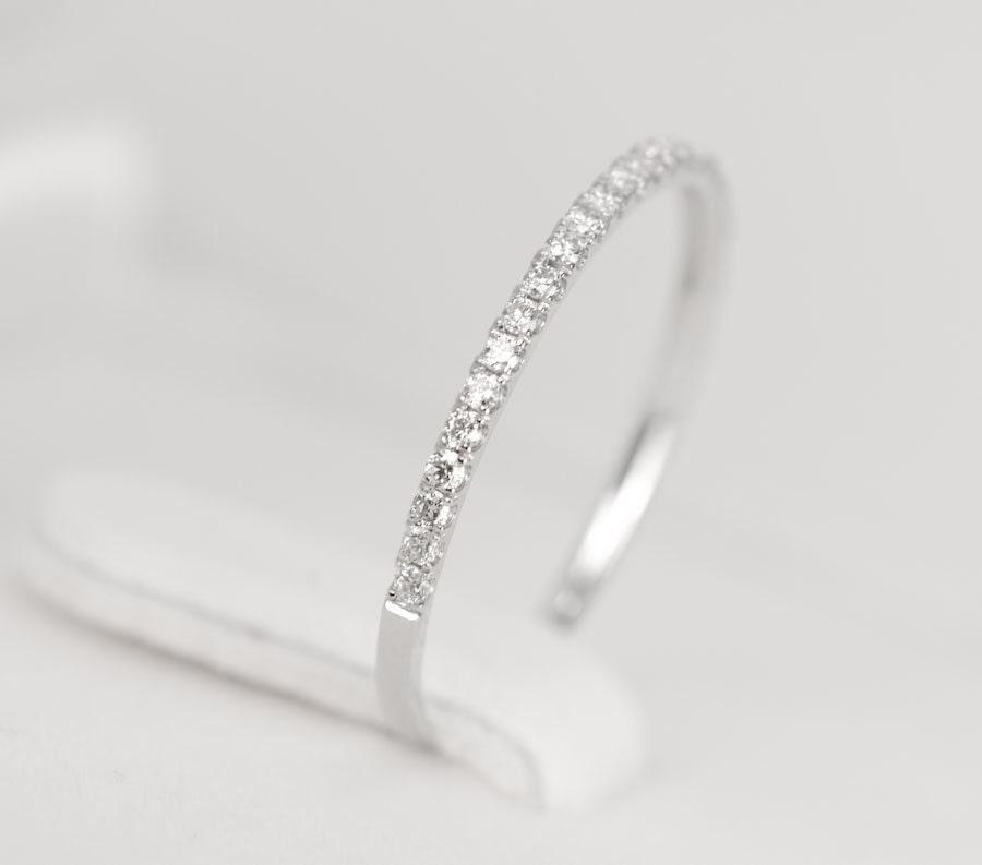 Diamond Wedding Band 14K White Gold SALE By SundariGems On