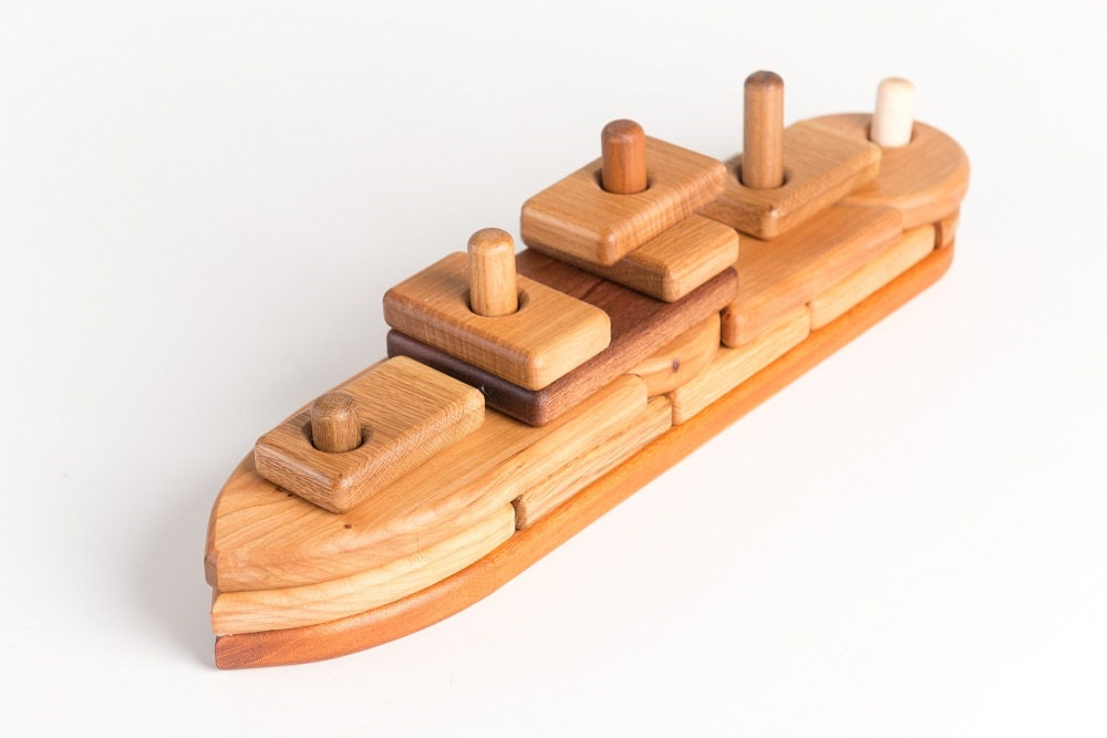Montessori Wooden Boat Puzzle Toddler Toy - asummerafternoon