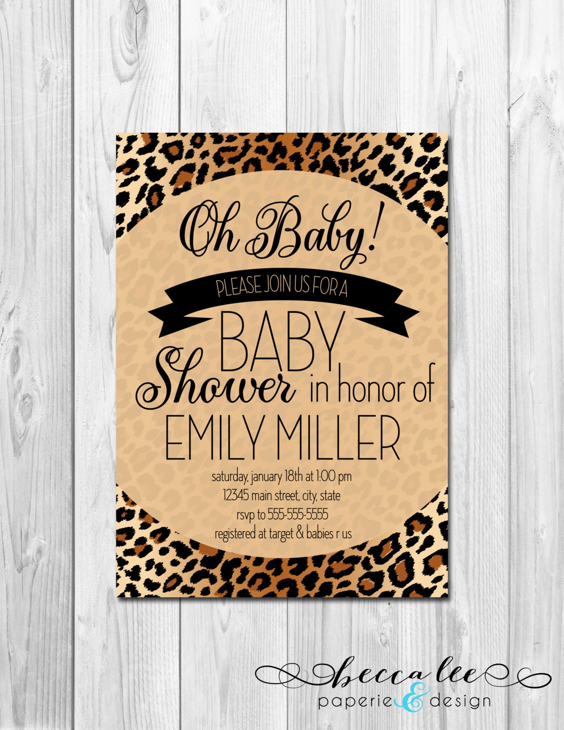 oh baby animal print baby shower invitation brown cheetah leopard