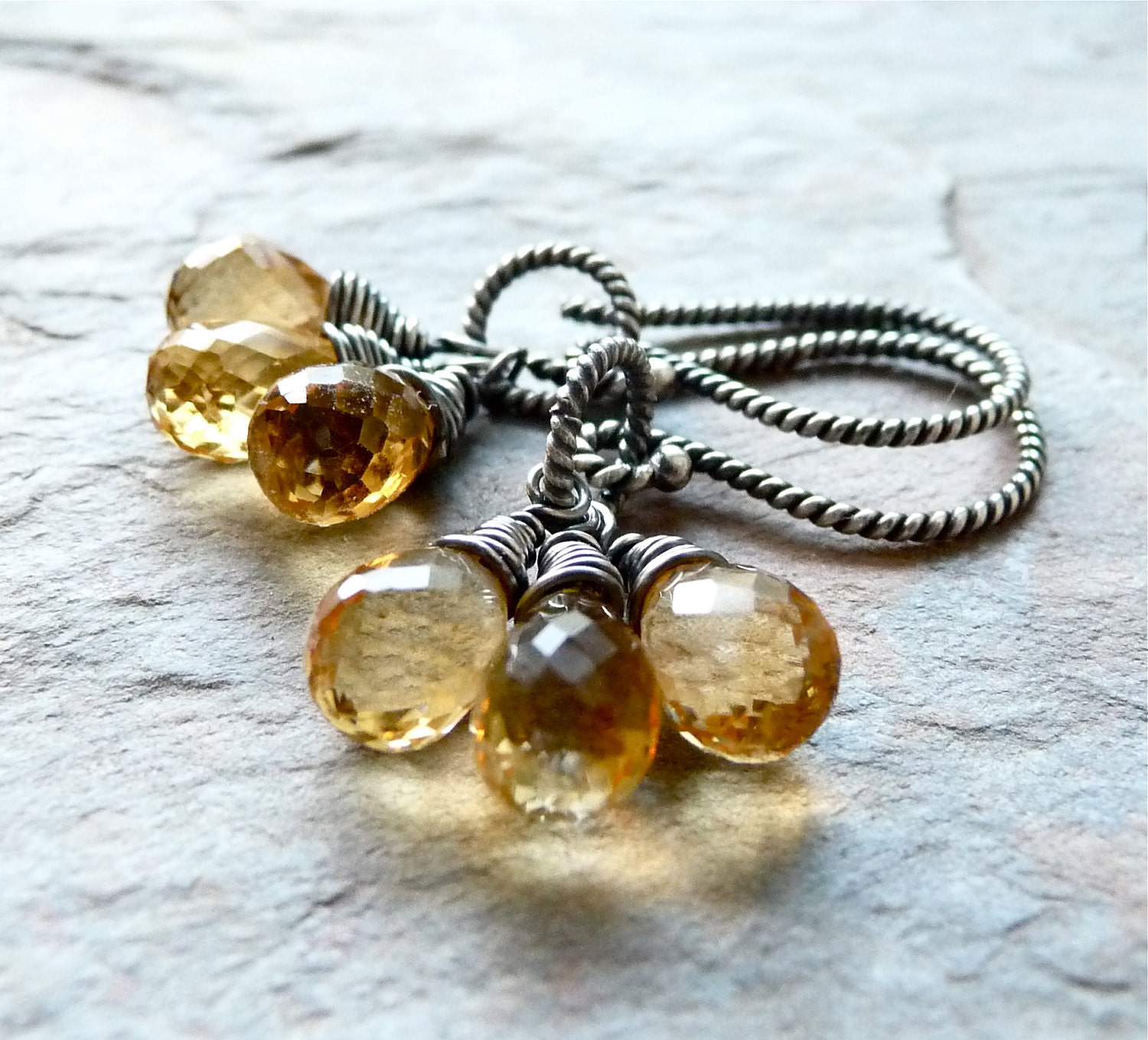 Triple Drop Earrings - Handmade Faceted Citrine Teardrops Wire Wrapped in Oxidized Sterling Silver