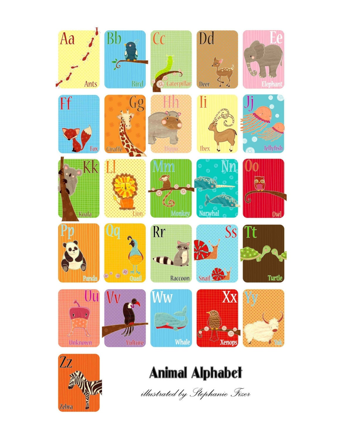 Animal Alphabet Entire Series of 26 Prints 5x7 Size