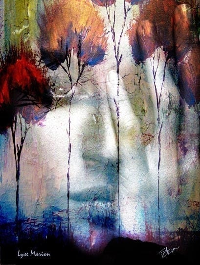 Spirit of Autumn Fire Woman and Tree Landscape Digital Collage Kristen Stein Free US Shipping
