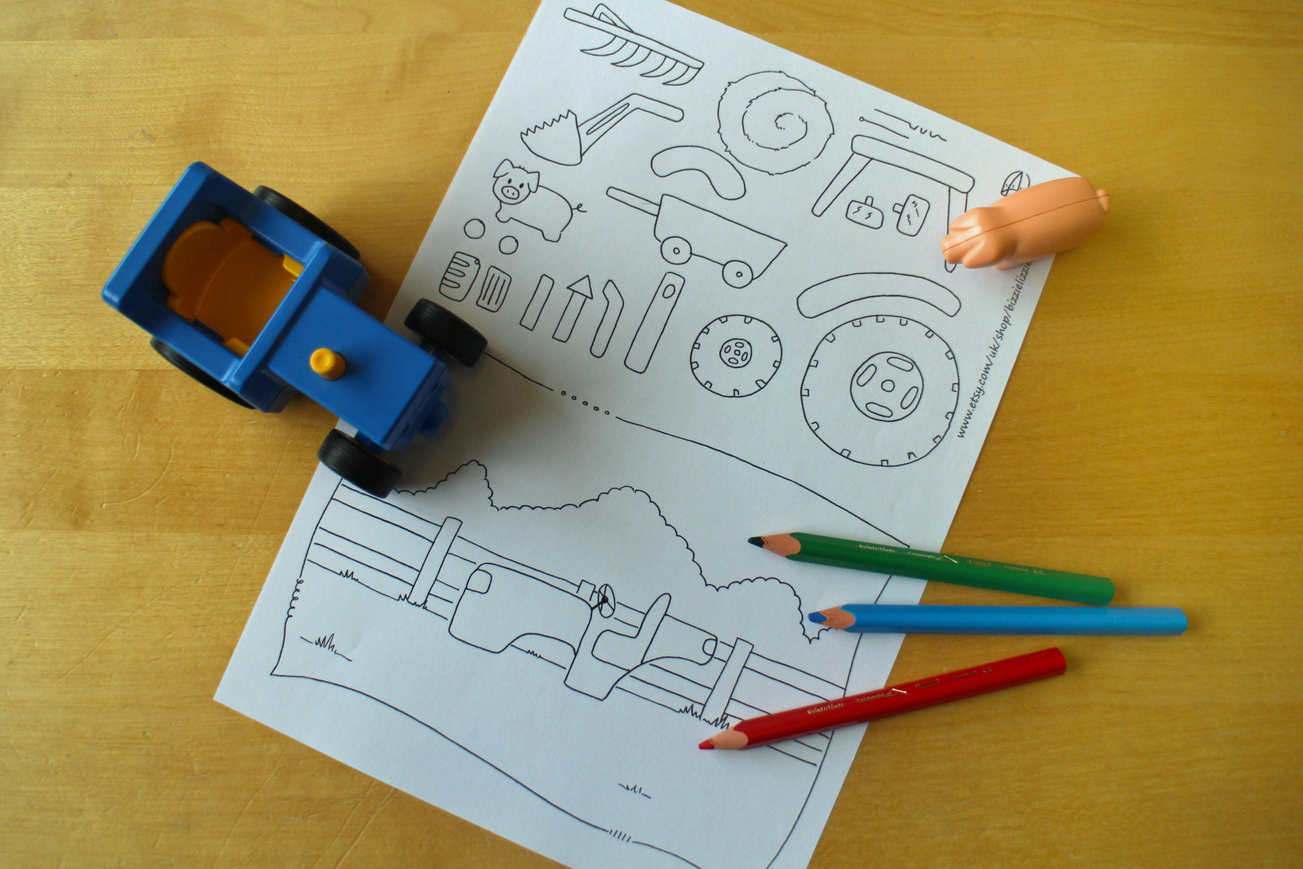 Build a Tractor Printable Play Scene  Colouring Sheet
