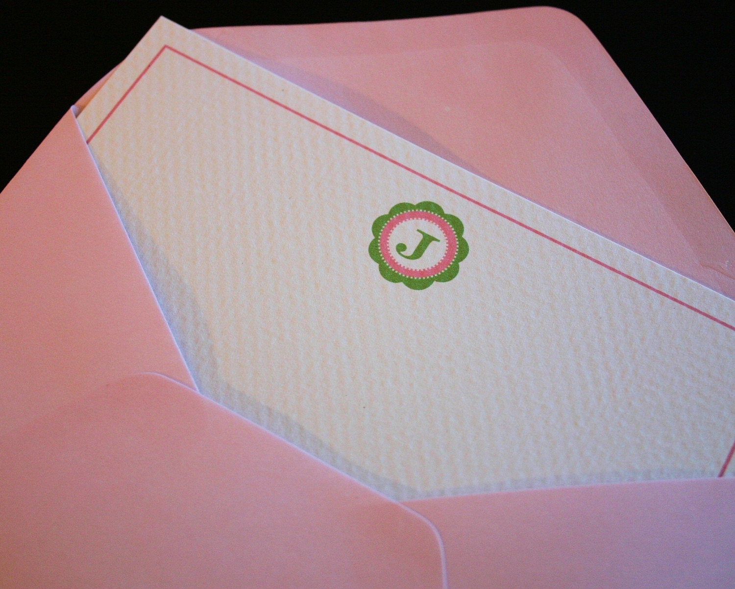 Custom Pink and Lime Preppy Monogrammed Notes-Set of 6 w/envelopes