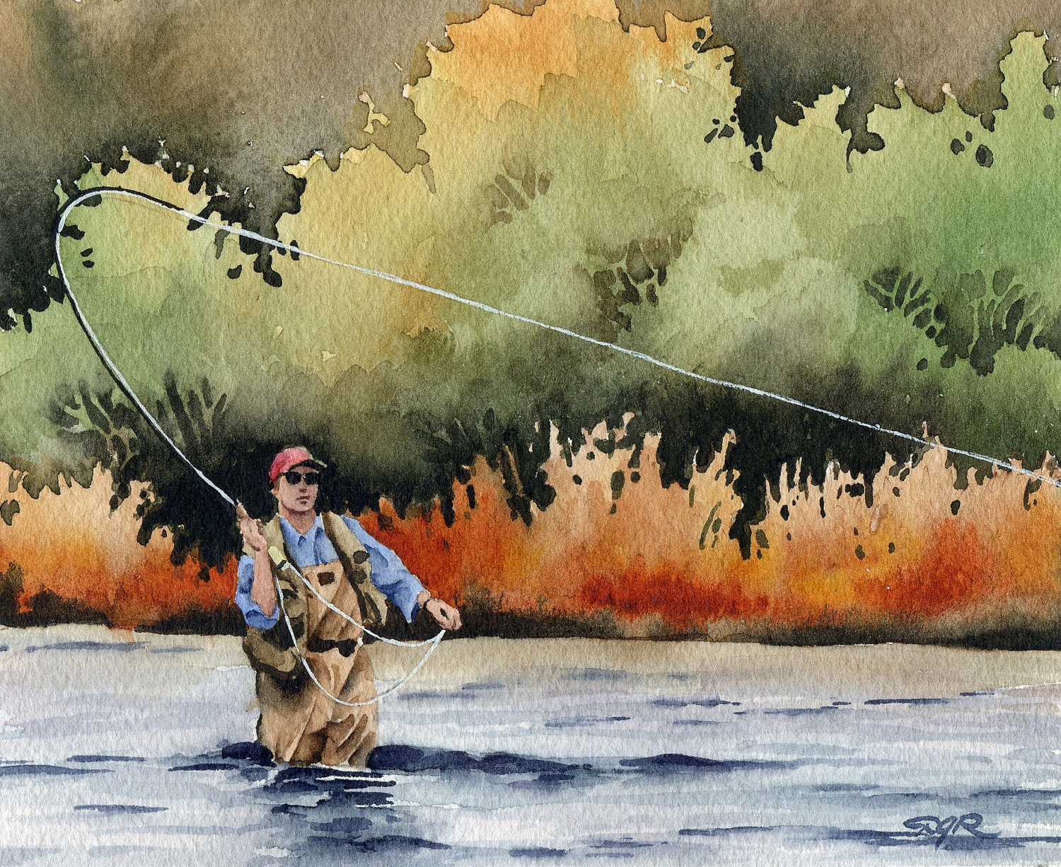 Hooked up fly fishing art print signed by by k9artgallery for Fly fishing art