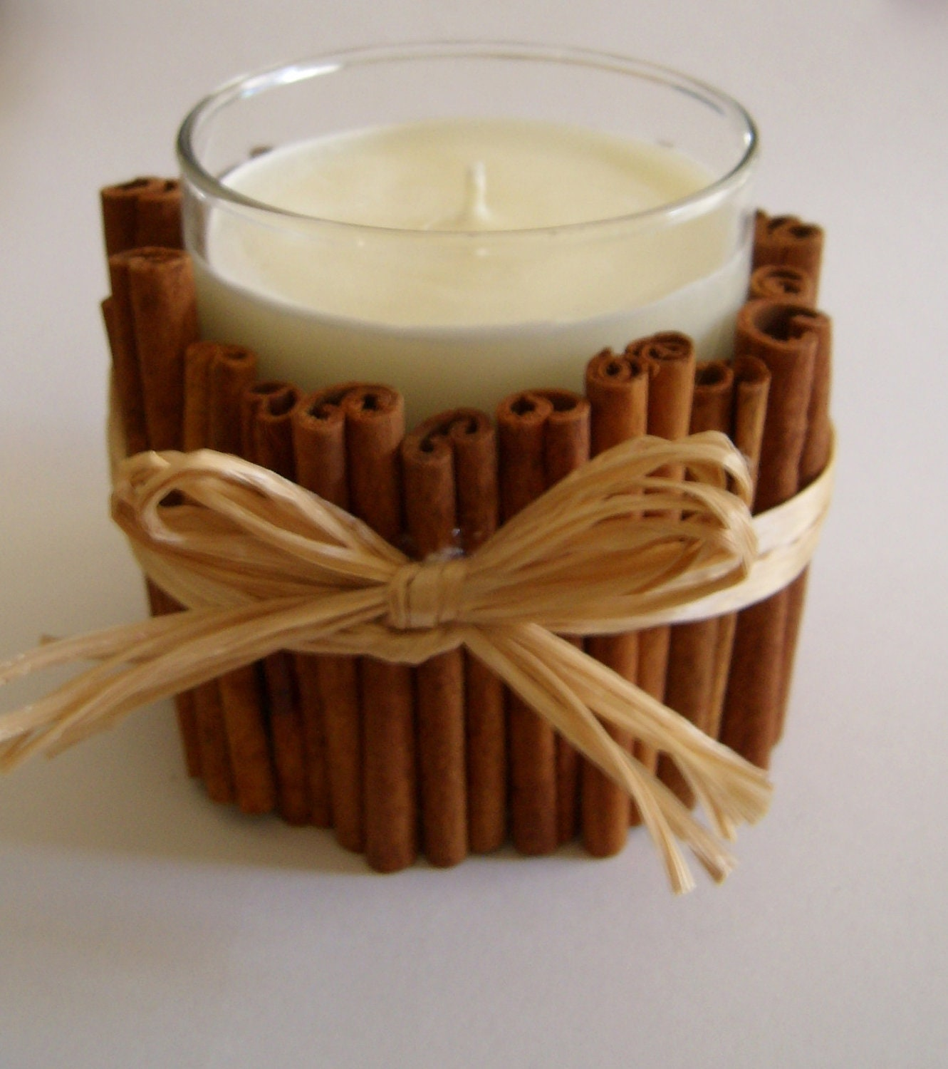 Cinnamon sticks decorated Candle unscented - ready to ship - BlackParrotCreations