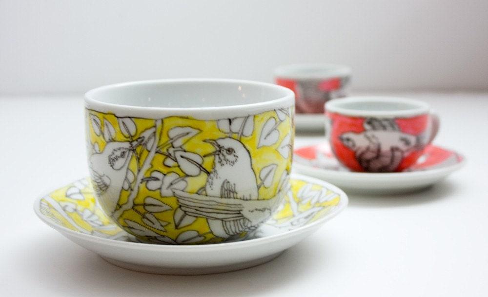 Huge Mug and Saucer - yellow birds