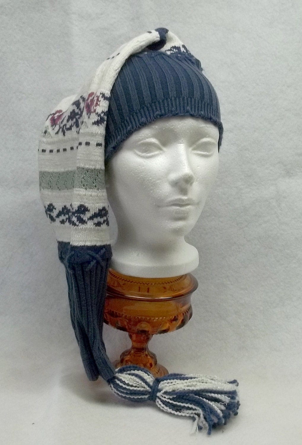 Up cycled dark blue white winter hat knit no 2 tassel shirt women men teen unisex eco friendly