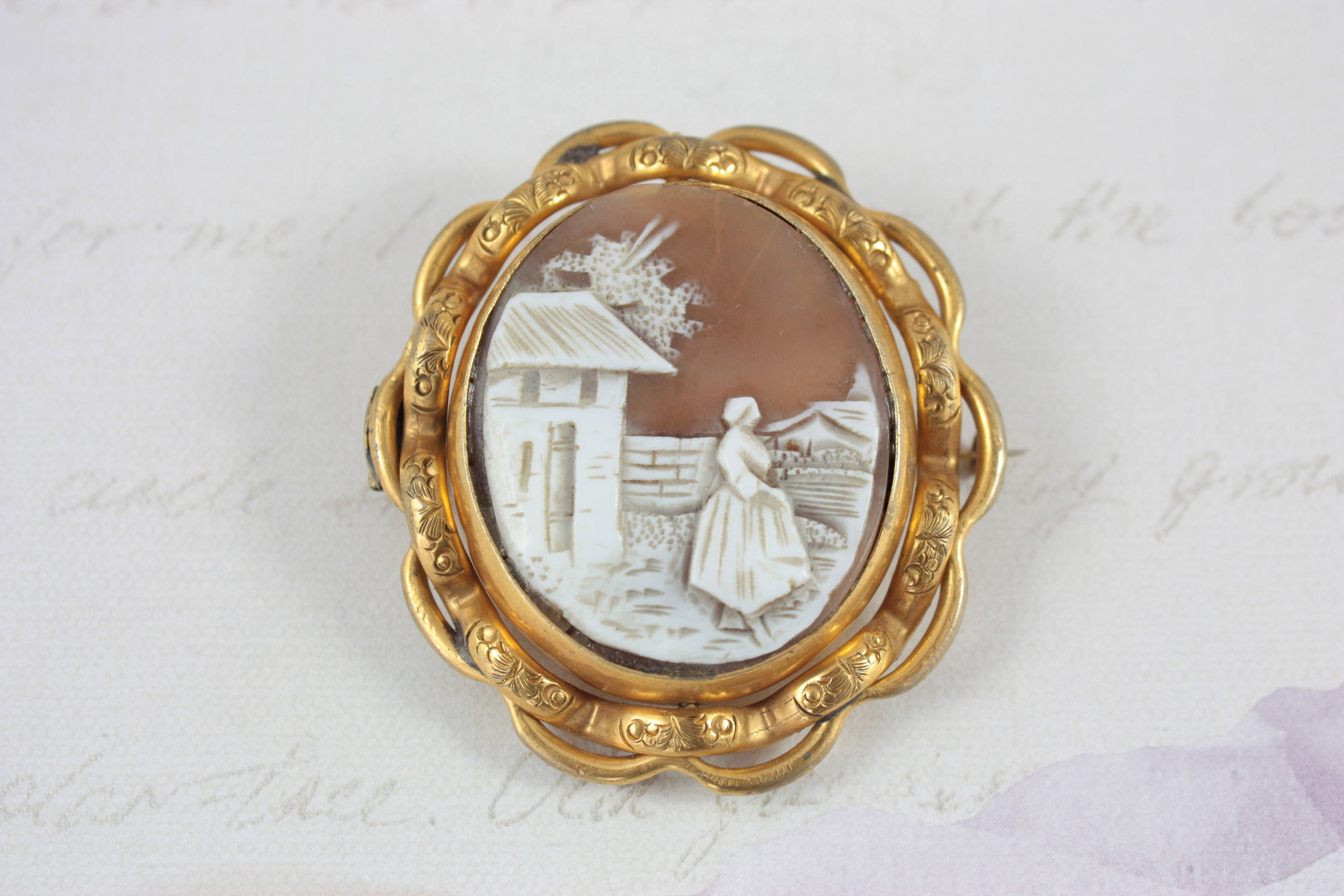 Large Victorian Swivel Cameo Brooch Antique Shell Cameo Brooch Hair Mourning Brooch Gold Plated Cameo Brooch