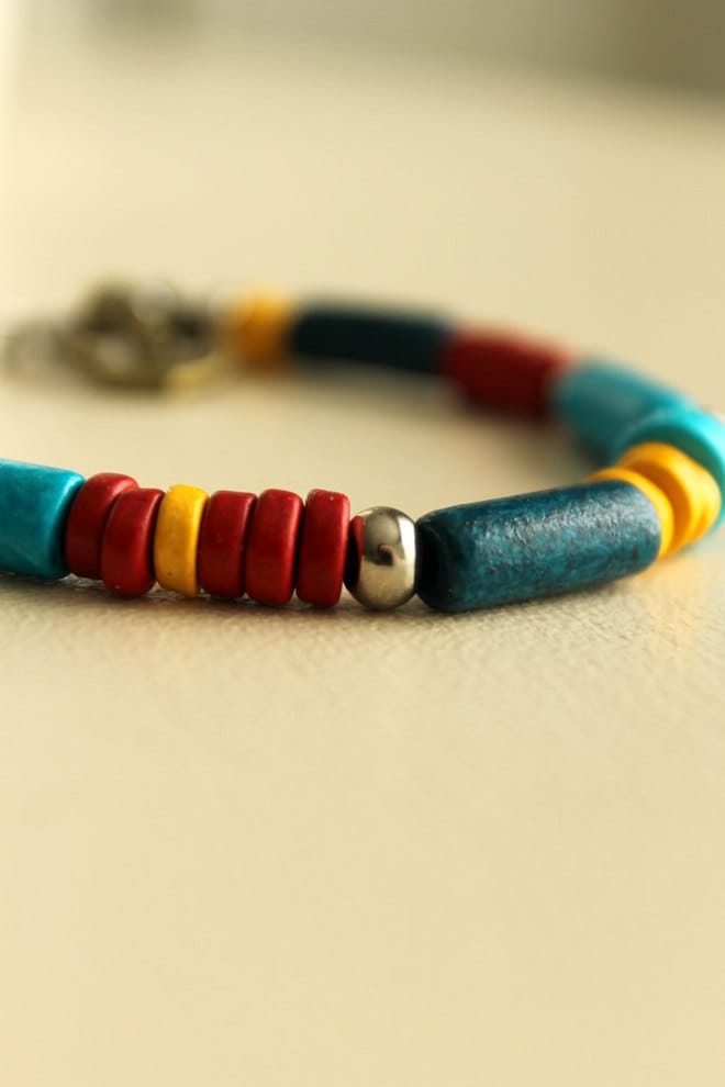 Nautical Bracelet, Ceramic Beads, Primary Colors, Anchor Charm, Red, Blue, Yellow, Summer - nancywallisdesigns