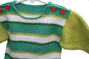 Seabreezes Striped Blue and Green Handknit Baby Sweater
