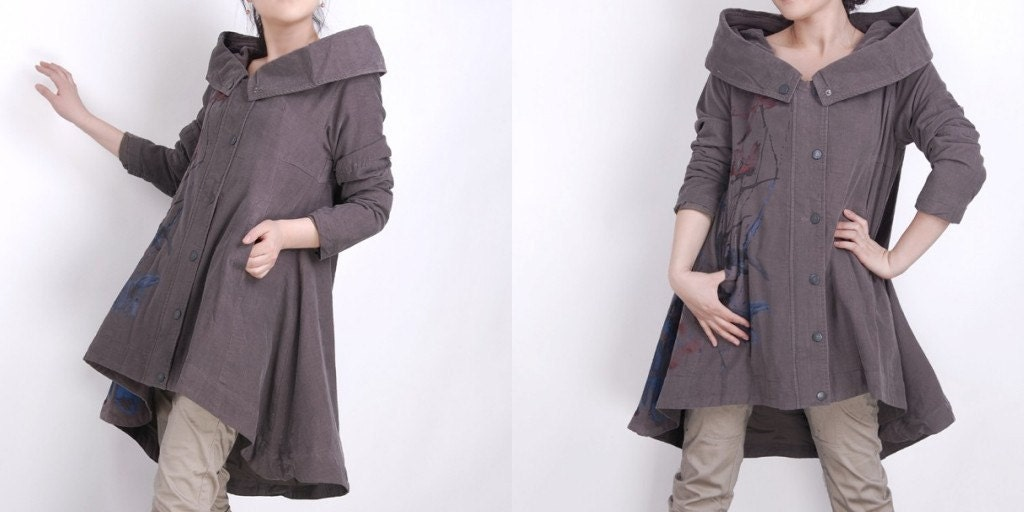 Ink Hooded corduroy Big skirt coat