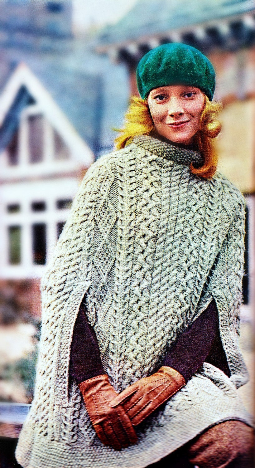 Knitting Websites Ireland : Knitting pattern for cape sweater poncho shawl by