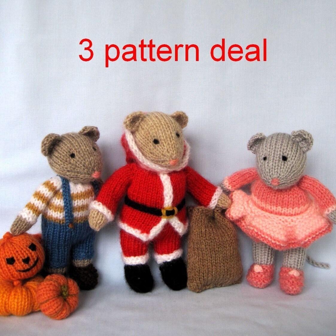 تصویر در تصویر ، سانتا و دارسی -- 3 الگوی معامله -- عروسک اسباب بازی knitted موس -- ایمیل اف بافندگی الگوی