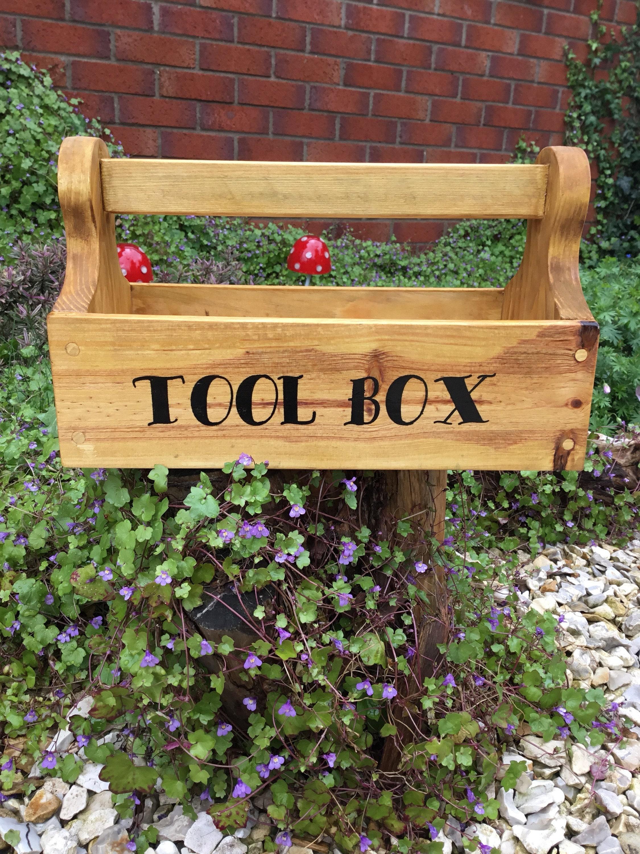 Personalised wooden storage caddy tool box bottle holder storage childrens