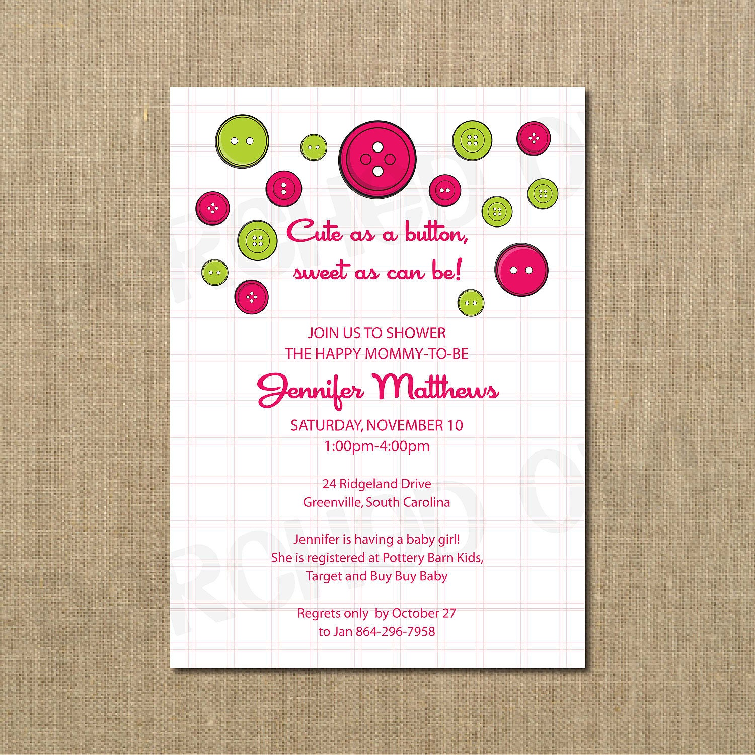 cute as a button baby shower invitation boy girl by perchedowl