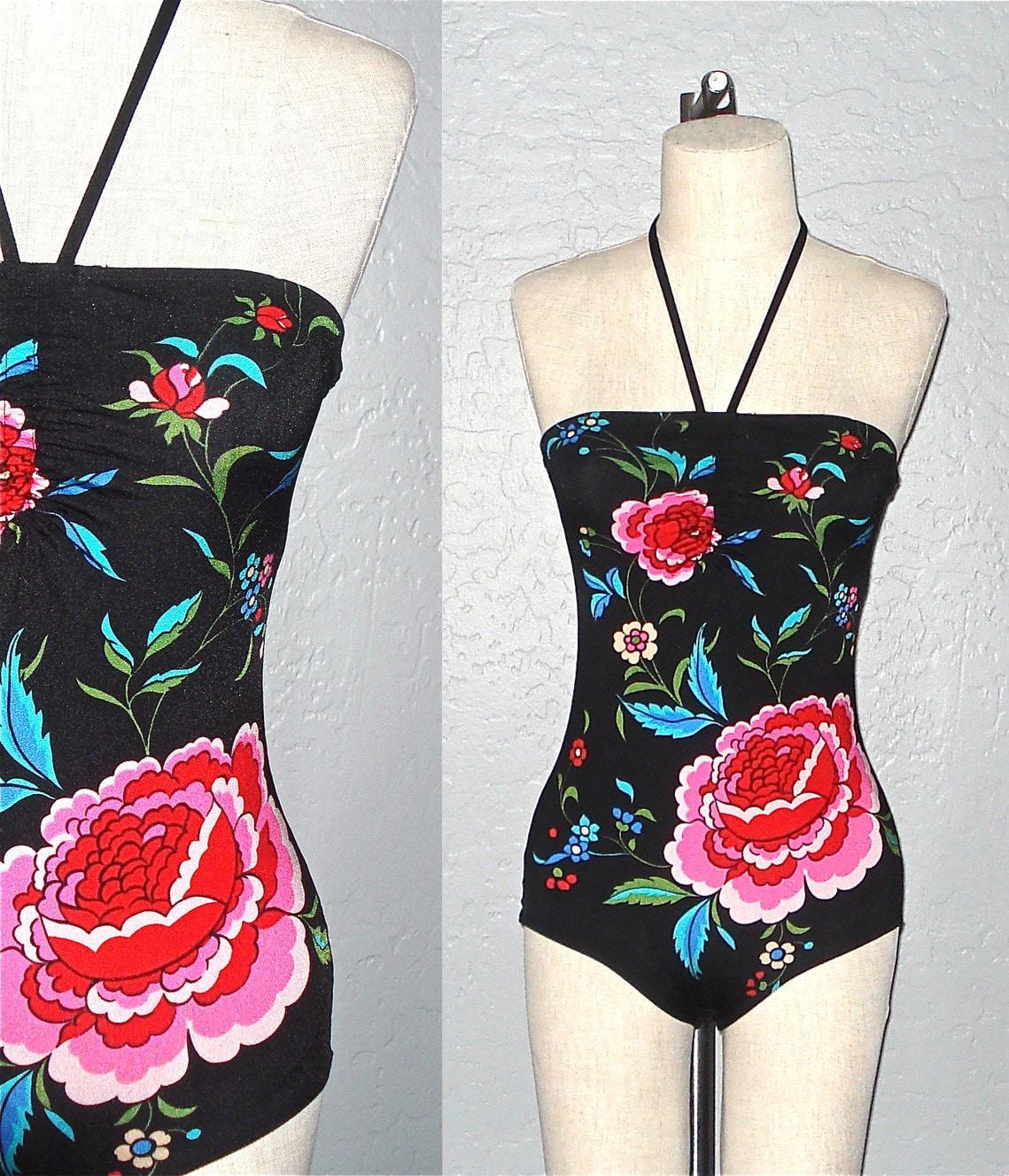 Vintage 70s swimsuit BLACK FLORAL halter strap one piece bathing suit - S