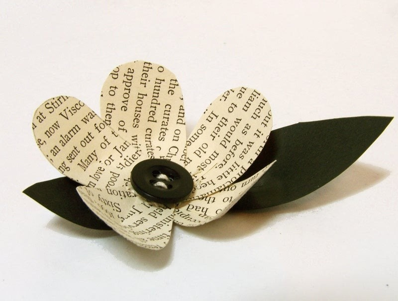 1 Vintage Book Page Flower Boutonniere Idea Wedding Decoration Black and