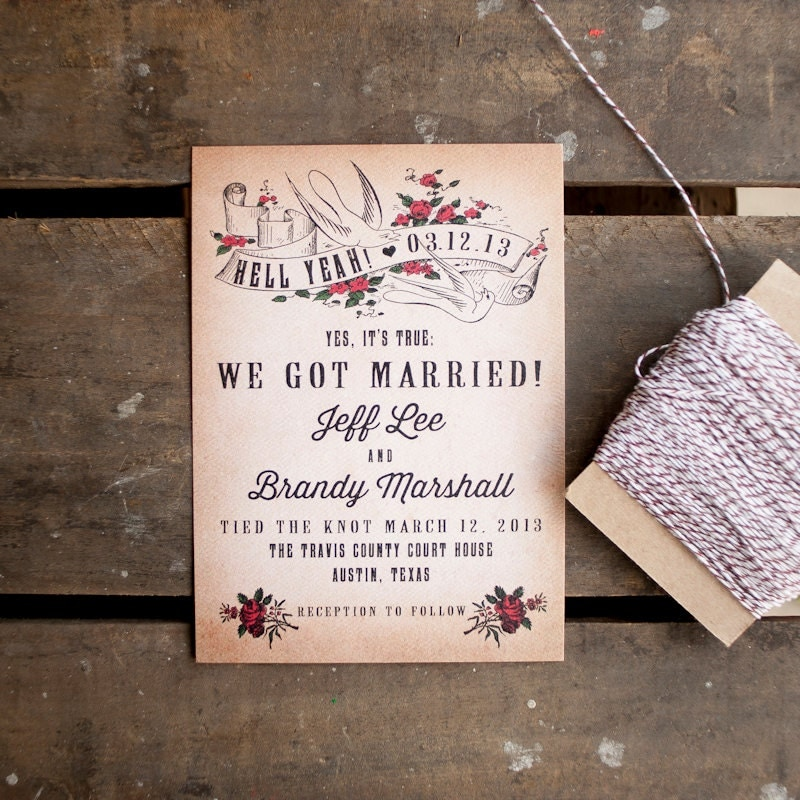 Wedding Gifts For Couples Who Eloped : , Eloped, Punk, Vintagetied the knot, courthouse wedding, wedding ...